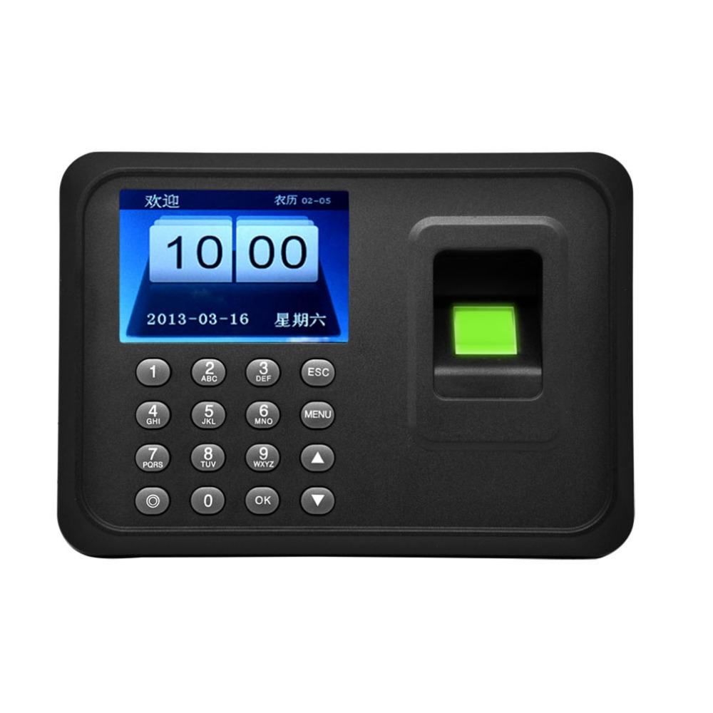Biometric A6 2.4 inch TFT USB 32bit CPU Fingerprint Time Attendance Machine Clock Record NoNeed Software image