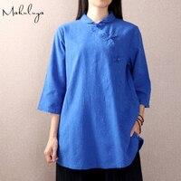Makuluya Women Chinese Clothing Folk Style Cotton Tops Vintage Peter Pan Collar 3 4Sleeve Loose Linen
