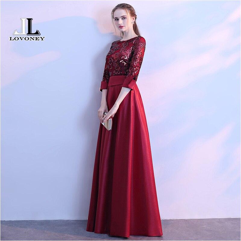 LOVONEY une ligne paillettes Robe De soirée dorée longues robes De bal Robe De soirée Robe formelle femmes élégante Robe De soirée M254 - 4