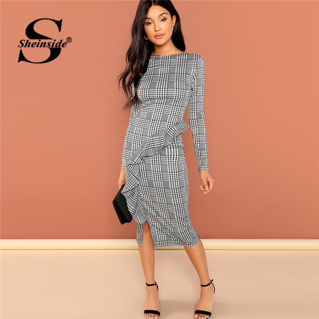 ac2e101a4f Sheinside Black and White Office Ruffle Detail Split Plaid Dress Elegant  Sheath Long Sleeve Slim Dresses
