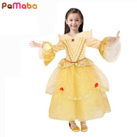 Girl Dress Chilren Clothes Belle Princess Cosplay Costume 2017 Luxury Girls Dress For Flare Sleeve Lace