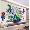 Etiqueta de vinilo de Super Mario Bros, calcomanía decorativa removible de pared para dormitorio infantil, arte mural de la sala de estar
