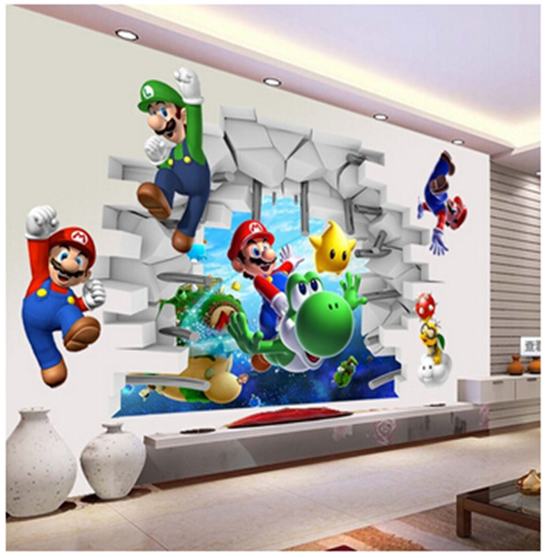 Super Mario Bros Kids Removable Wall Klistermærker Dekaler Nursery Home Decor Vinyl Mural til Boy Bedroom Living Room Mural Art
