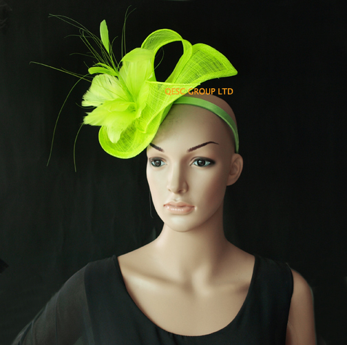 562c5447 Wholesale NEW 13 colours arrival neon green sinamay Fascinator hat for  kentucky derby wedding party.