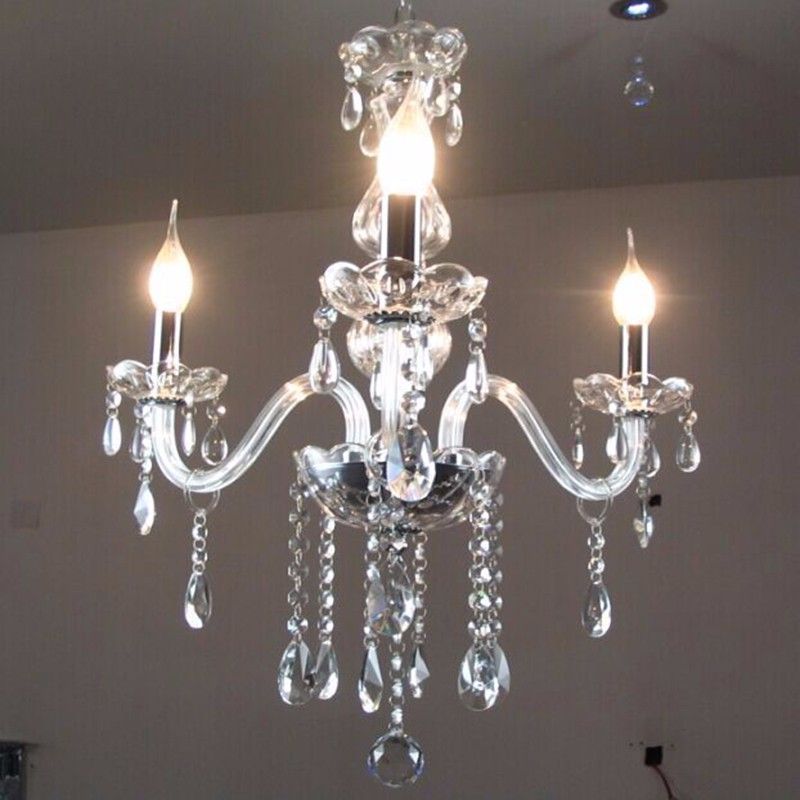 Crystal chandelier light modern luminaire lustres de for Modern crystal chandelier for dining room