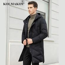 KOLMAKOV Мужская одежда новое поступление зимние мужские s 90% белые пуховики пальто мужские толстые длинные парки Homme высокое качество Верхняя одежда 4XL