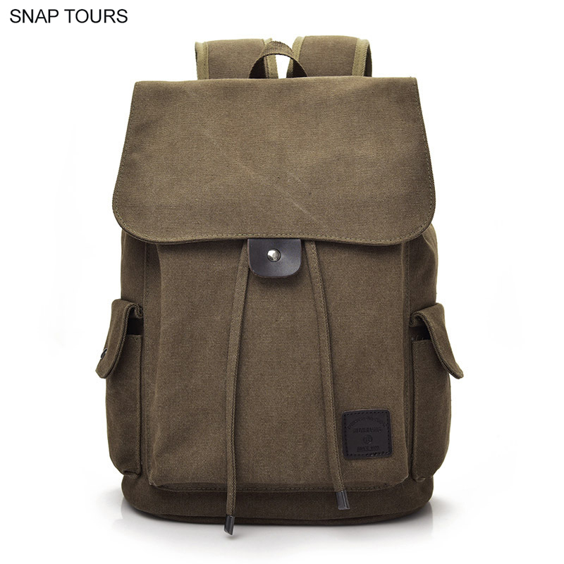SNAP TOURS Clearance Sale Canvas Travel Backpack For Men Vintage Large Space String Male Laptop Backpack Trip Back Pack