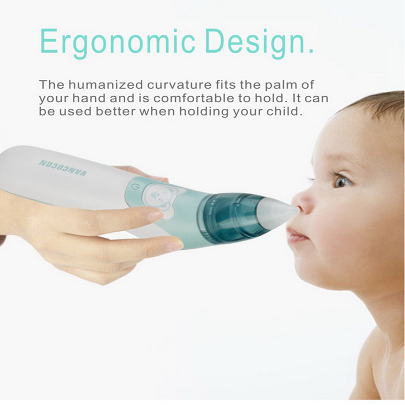 Baby Nasal Ear Aspirator Safe Electric Battery Operated Nose Ear Cleaner Anti Backwash With Storage Box