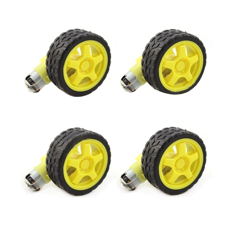 4 Pcs For Arduino Smart Car Robot Plastic Tire Wheel with DC 3-6V Gear Motor 3 6v sound sensor module for arduino works with official arduino boards