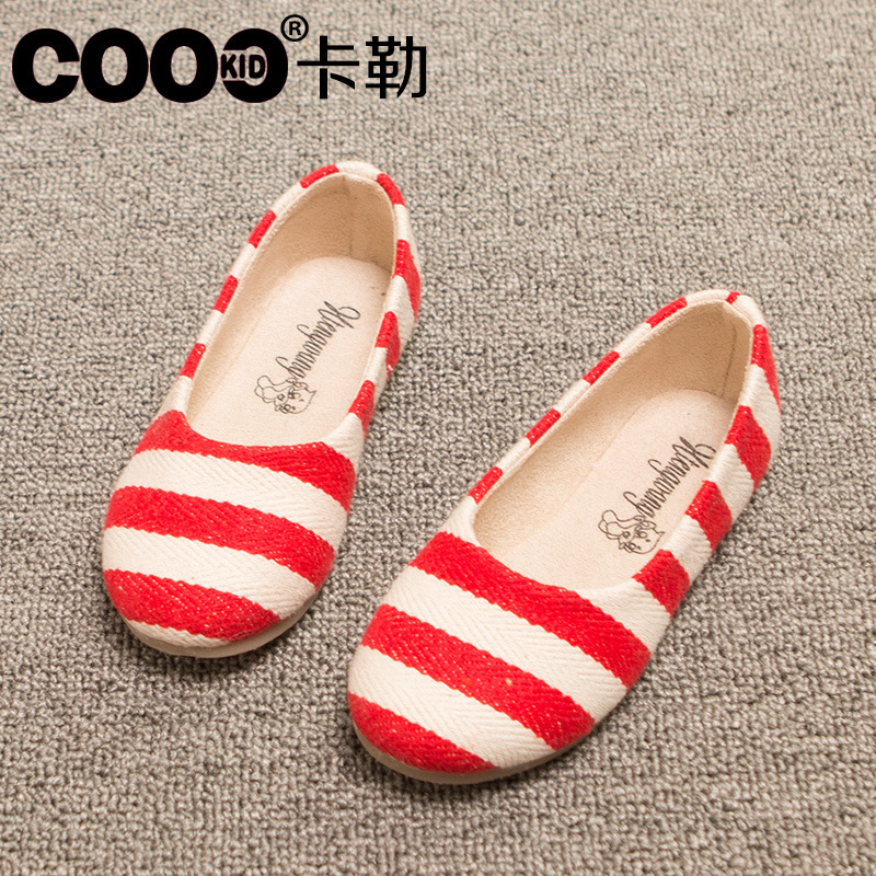Bright Stock Sales Stripe Girls Shoes For Show Flat Sneakers For Girls Little Children Girls Flats Party Dress Dance Shoes Princess Quality First