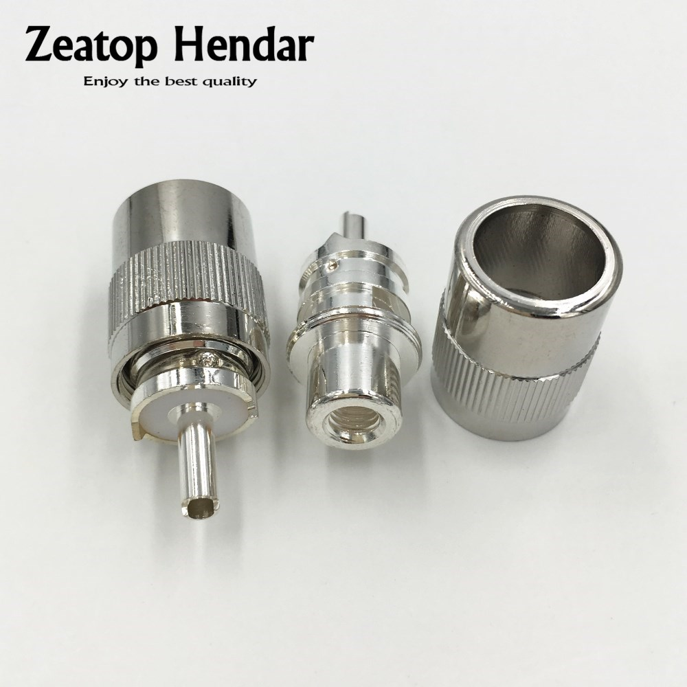 10 pçs de bronze banhado a prata uhf PL-259 macho solda rf conector plug para rg58 rg142 lmr195 rg400 cabo coaxial adaptador