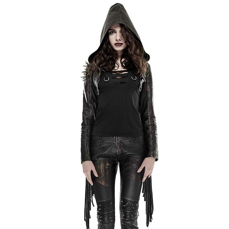 Женское пальто с капюшоном и заклепками, черная куртка с капюшоном в стиле рок