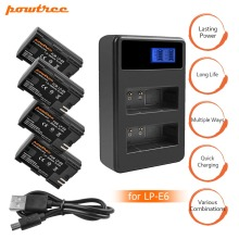 4X LP-E6 LPE6 LP E6 Rechargeable Camera Battery+Dual Charger LED for Canon 5D Mark II Mark III EOS6D 7D 60D 60Da 70D 80D L10 4 lpe6 lp e6 lp e6 e6n battery led usb dual charger for canon eos 60d 70d 5d mark ii 5d mark iii 5d mark iv digital camera