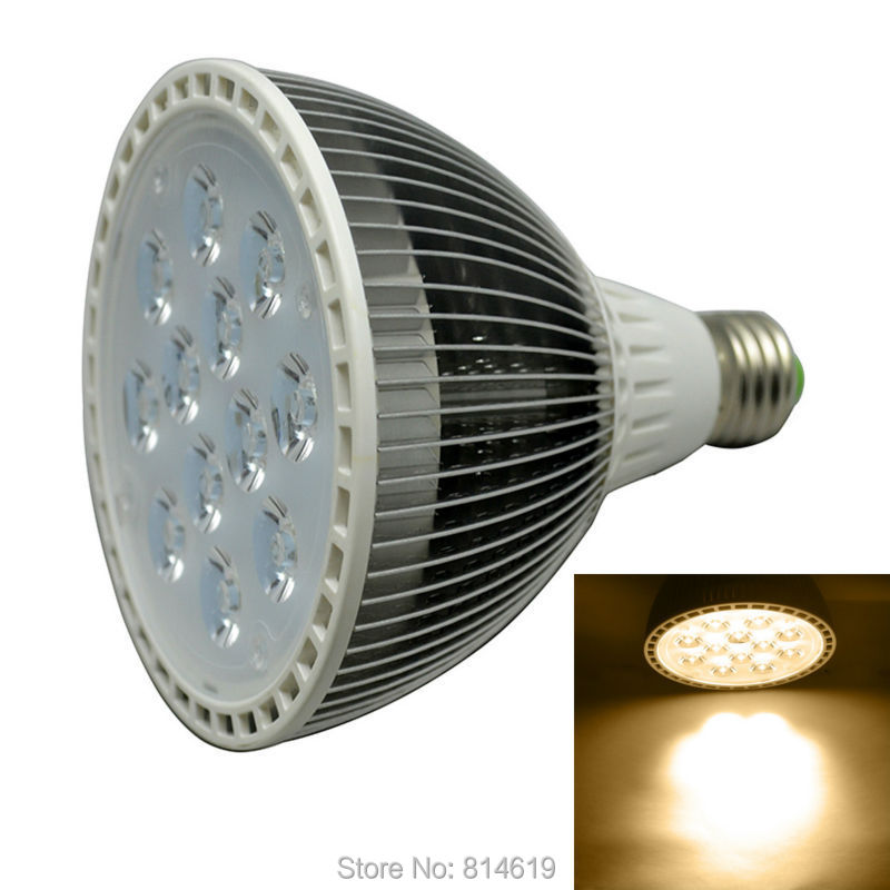 ФОТО E27 12W Par38 LED Spot Light White/Warm White 1200LM High Brightness 110V/220v  Free Shipping