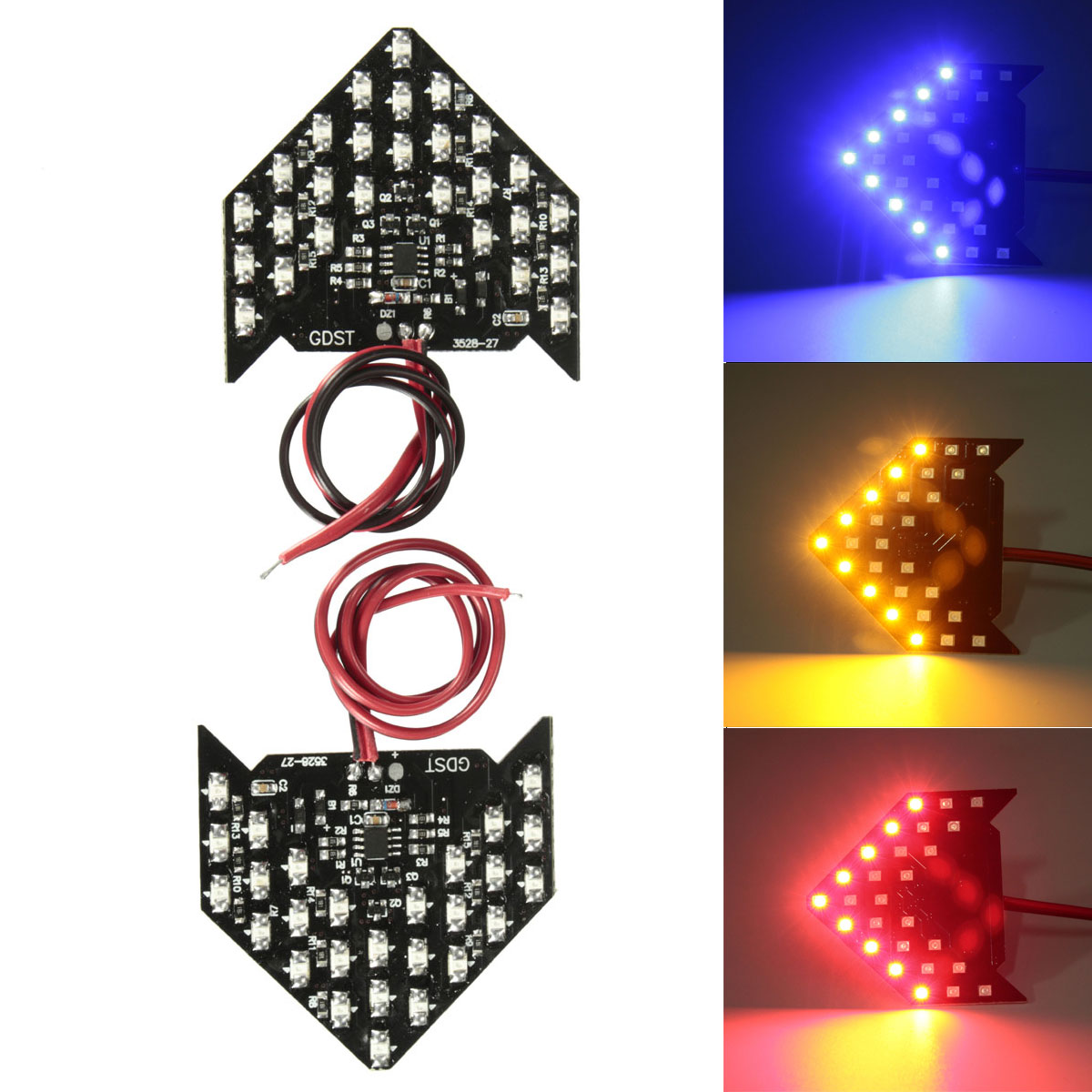2*Blue 27-SMD 3528 Sequential LED Arrows for Car Side Mirror Turn Signal Lights