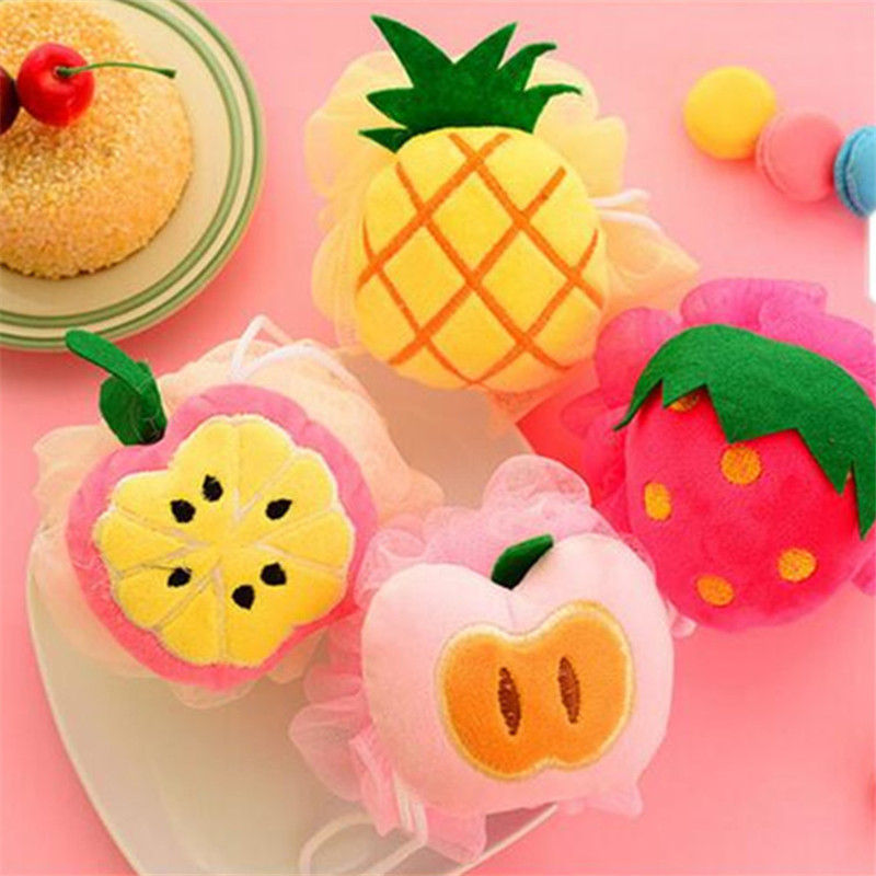 Keythemelife Cute 1PCS Fruit bath ball Colorful Bath Sponge Bath Flower For Man Bathroom Accessories Cleaning Tools D4