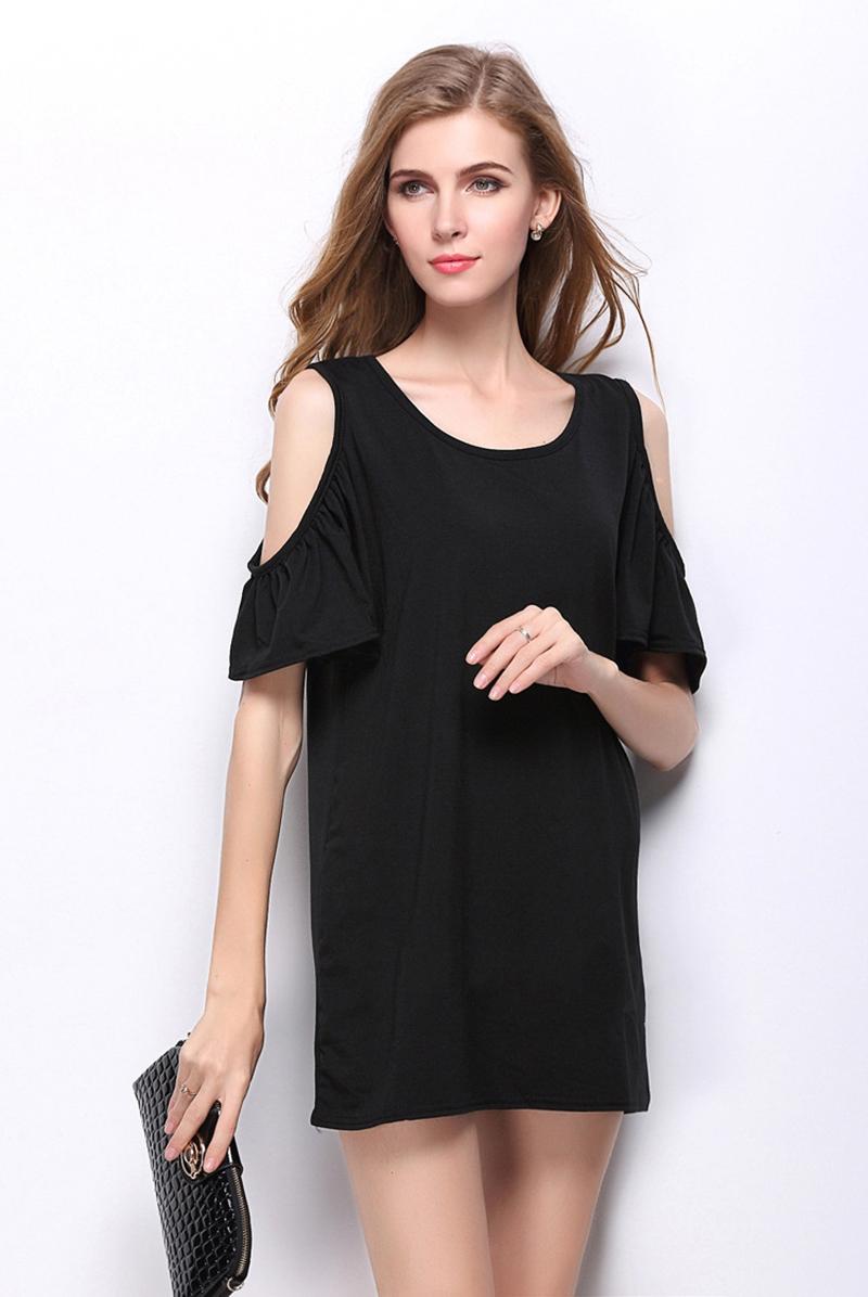 ffcc5d5dc659 Butterfly Short Sleeve Women Dresses Off shoulder Summer Ladies Sexy Short  Cotton Dress Casual Jersey O neck Tops Clothes RY1615-in Dresses from  Women s ...