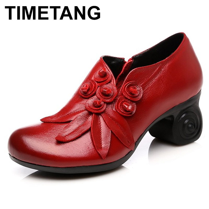 TIMETANG  Flower Genuine Leather women pumps high heels shoes for women Female Soft Autumn Handmade office ShoesTIMETANG  Flower Genuine Leather women pumps high heels shoes for women Female Soft Autumn Handmade office Shoes
