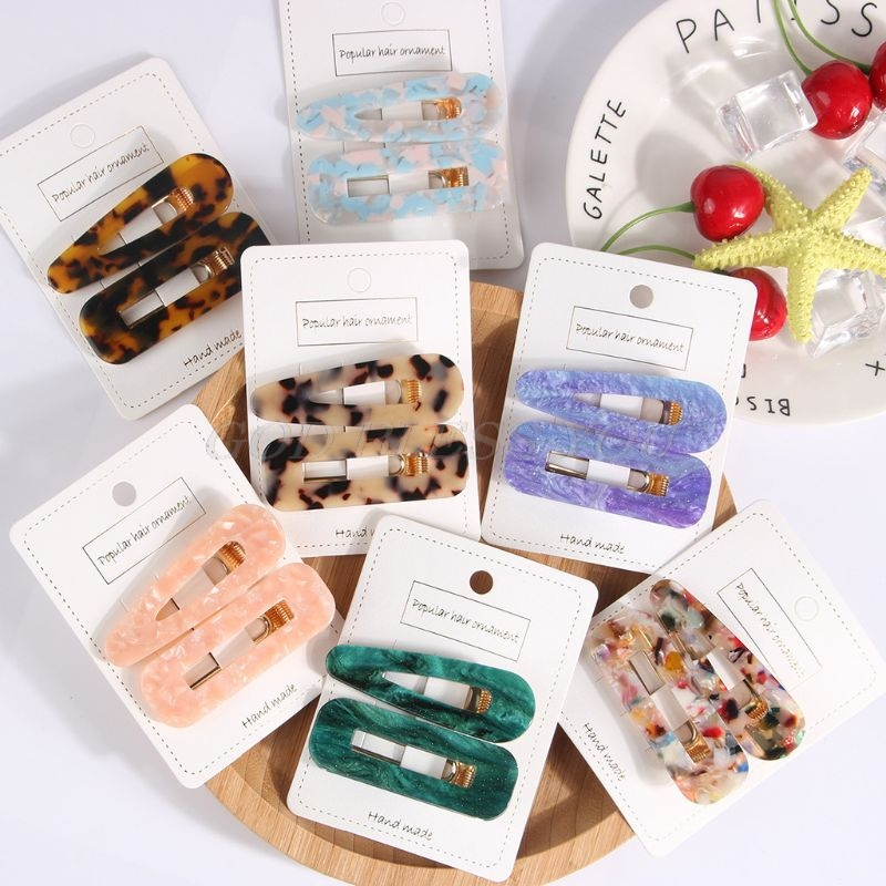 2PCS Acrylic Resin Hair Barrettes Alligator Hair Clips Hair Clips Marble Pattern Hairpins Geometric Alligator Clips Women Girls