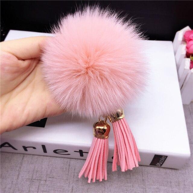 Alto grado de terciopelo de Corea maleta colgante cadena linda de la felpa bola de piel de zorro de las señoras del anillo dominante del coche