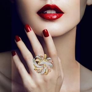 Женское кольцо с фианитами ModemAngel, большое медное кольцо 3 тонов, вечерние ювелирные изделия шириной для помолвки