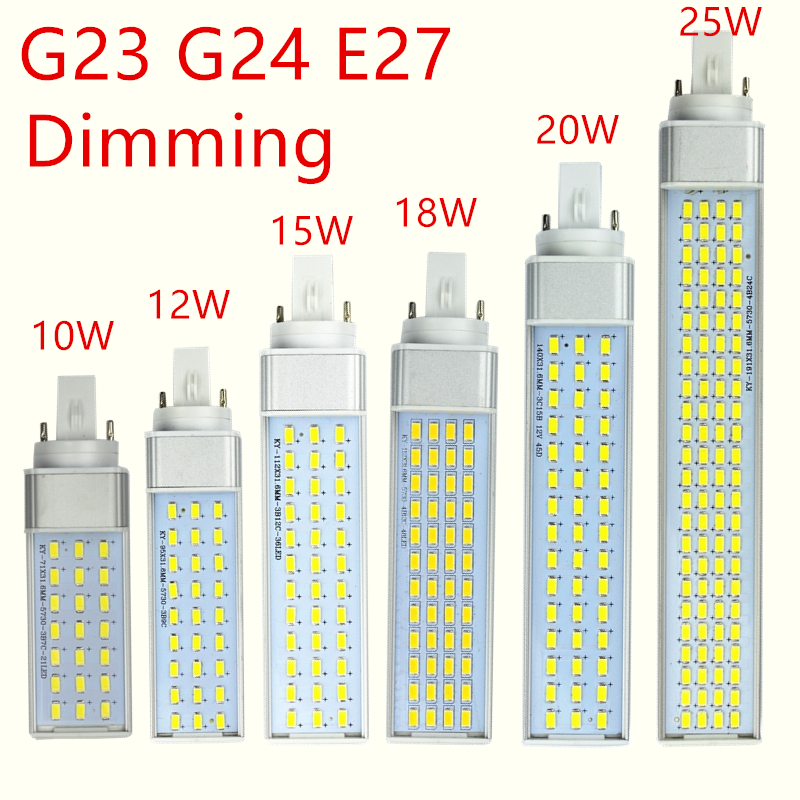 Dimming Tube Lamp Led Lamp G23 G24 E27 Led Lamp Bulb 10W 12W 15W 18W 20W 25W LED Corn Bulb Lamp Light 5730 Horizontal Plug Light