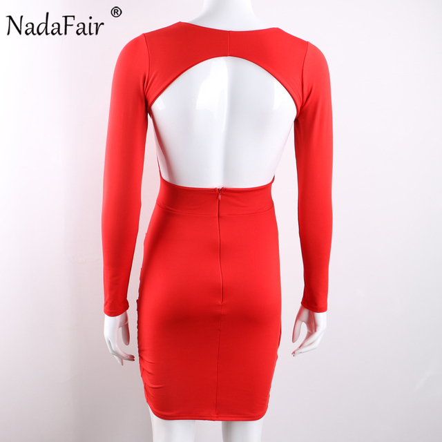Nadafair Deep V Neck Backless Skinny Sexy Bodycon Dresses Women Long Sleeve Mini Party Club Autumn Winter Dresses Red Black