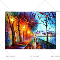 100% Handpainted Leonid City Couple Umbrella Oil Painting Unique Gift On Canvas Home Decor Wall Pictures For Living Room