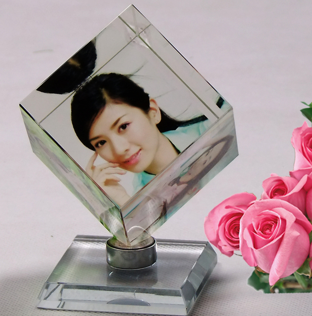 Crystal magic cube rotating photo frame personalized birthday gift ...