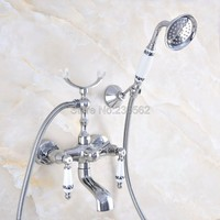 Chrome Bath Faucets Wall Mounted Bathroom Basin Mixer Tap With Hand Shower Head Bath & Shower Faucet lna705