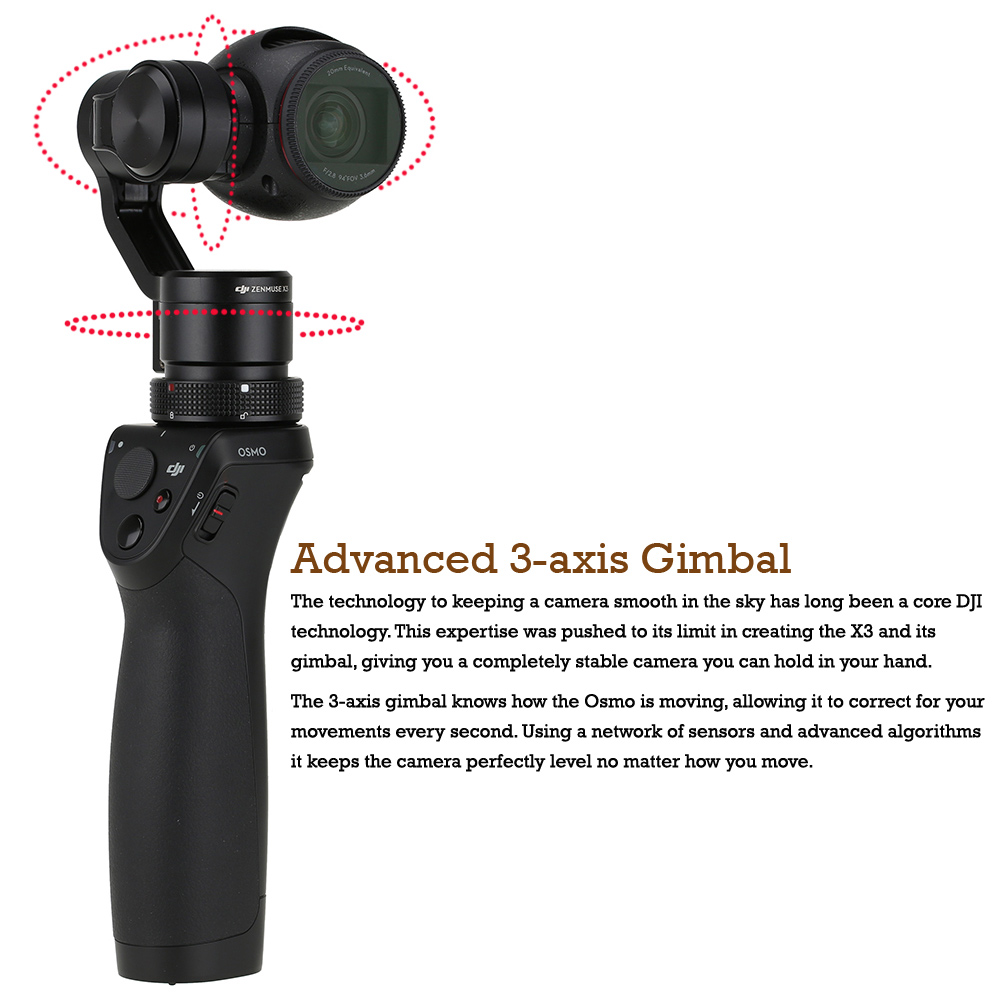 In stock 2016 Newest DJI Osmo 4K Camera with 3-Axis Gimbal Aerial Photography+Extra Battery+Microphone+Gifts Handheld camera Hot