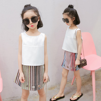 2018 Summer girls clothes children clothing set fashion sleeveless top+skirt 2-piece set kids clothes girls clothing sets 3-14Y