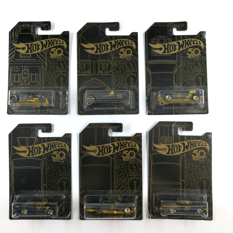 Hot Wheels Car Collector's Black Gold Edition 50th Anniversary Metal Diecast Cars Collection Kids Toys Vehicle For Gift 6pcs/set