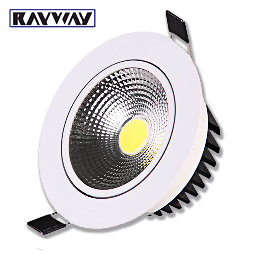 RAYWAY Recessed LED Ceiling Downlight 5W 7W 10W 15W 20W 25W Dimmable COB Down Light Lamp AC 85V-265V White/Warm LED Spot light 7w 600lm 6500k white 7 led ceiling light silver 89 265v