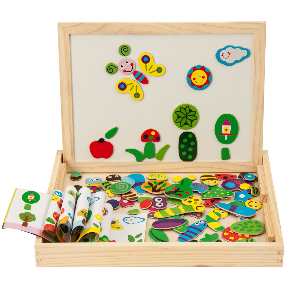 Wooden Insect and Animal Magnetic easel board Jigsaw <font><b>Puzzle</b></font> Toy Box with Blackboard & Whiteboard for children to draw