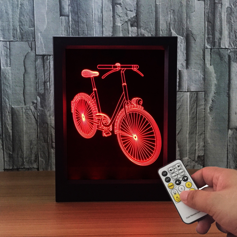 The Bicycle 3D Frame lamp 3D Night Light Strange New Lamp Remote Touch LED  Switch Sleep