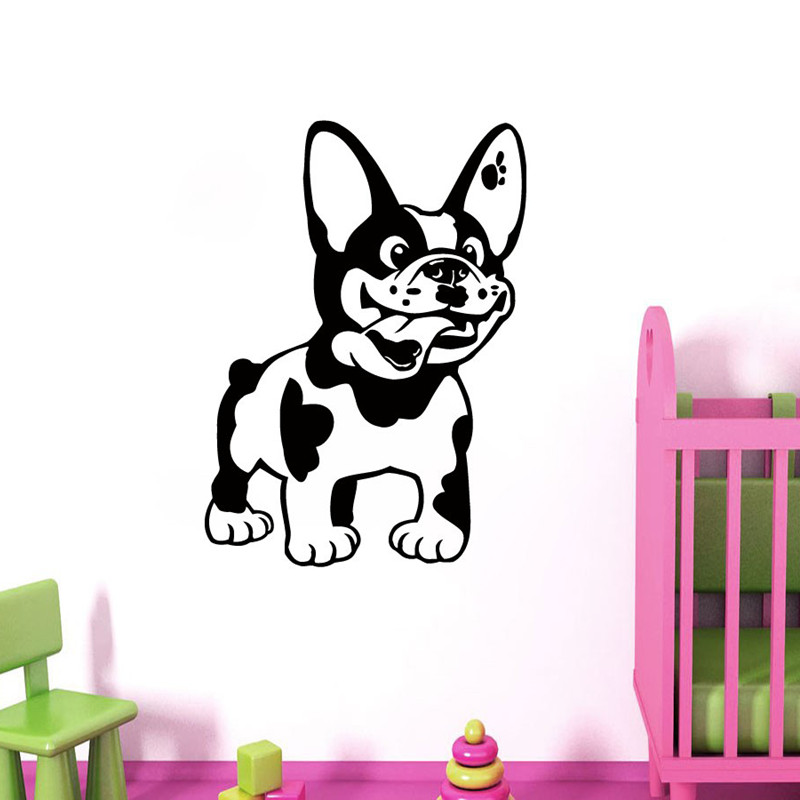 French Bulldog Decal Dog Vinyl Sticker Animal Puppy Pets Wall Art Living Room Pet Shop Decor Home Mural , Wallpaper Decoration