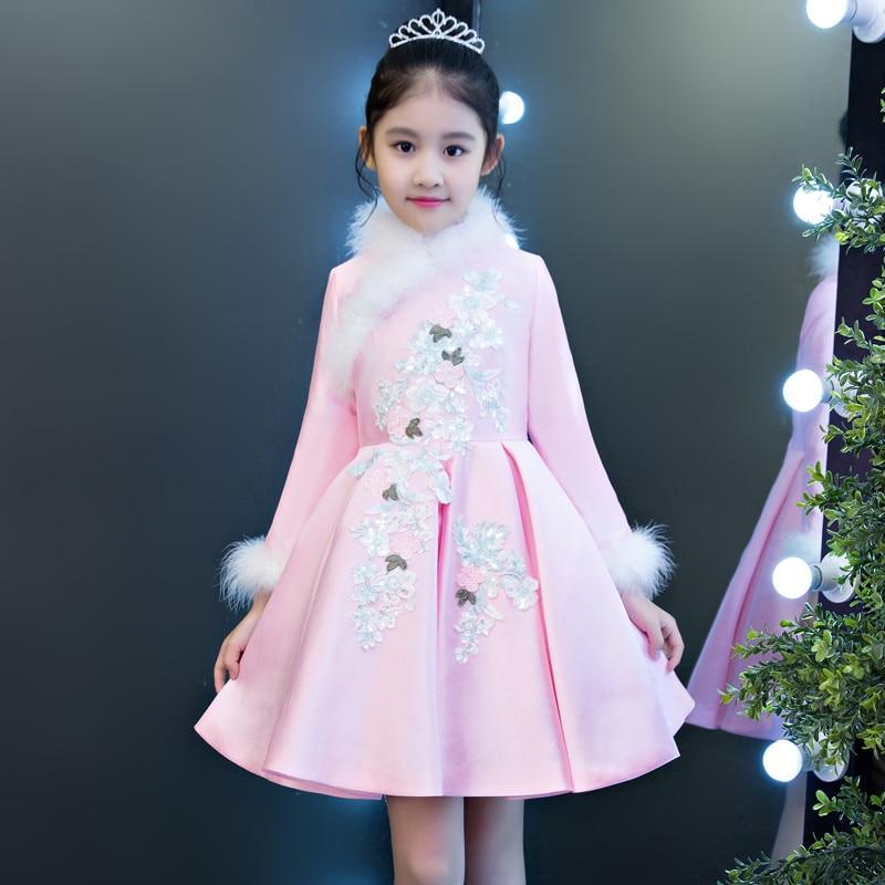 0d2f07964fbde 2018 Autumn Winter New Children Girls Thick Warm Birthday Wedding Party  Princess Prom Dress Baby Kids Host Piano Costume Dress