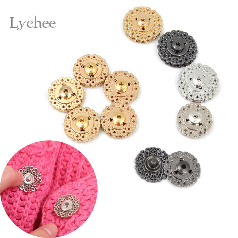 Lychee 5 Pieces/Set Metal Snap Button Floral Shape Sewing Accessories Stealth Jacket Clasp Buttons 18mm/21mm