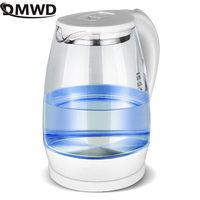 DMWD Electric Kettle Teapot Quick Heating Hot Water Boiling Tea Pot Glass Blue Light Heating Kettles Auto Power Off Boiler 2L EU