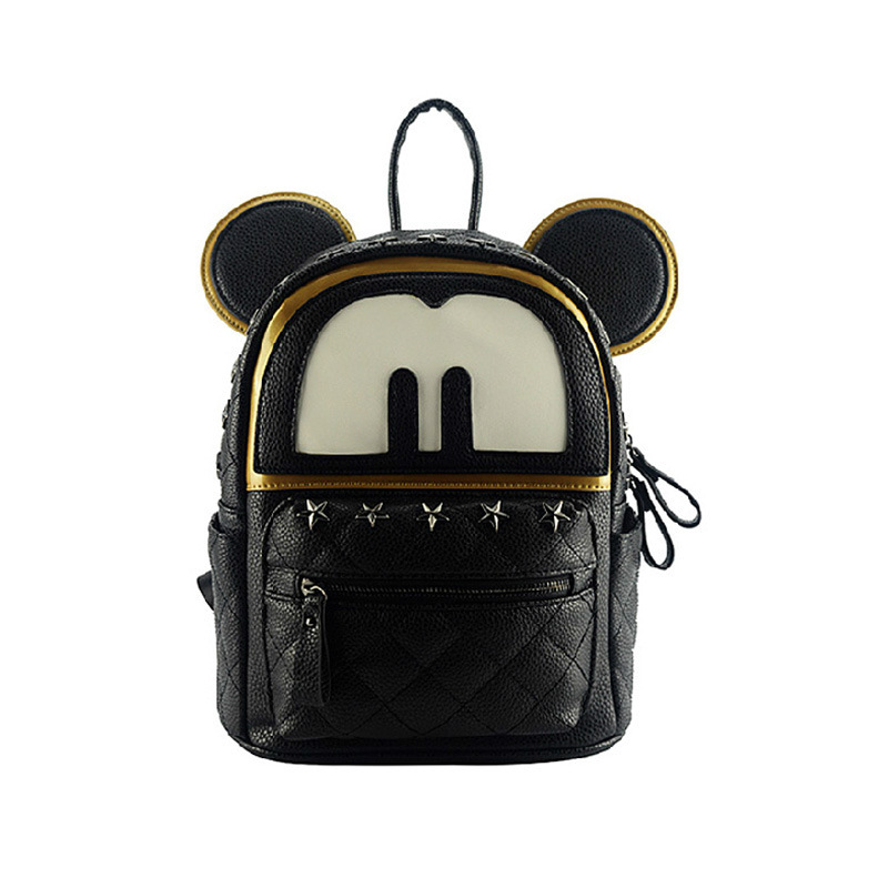 Cute cartoon korean school backpacks women leather black backpack ...