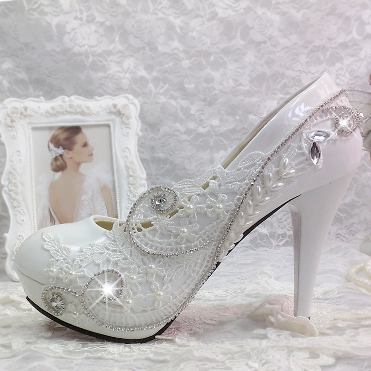Bride white wedding shoes lace flower rhinestone bridesmaids performance shoes pearl crystal ultra high heels