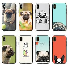 Adorável Cão Pug caso de telefone para o iphone 8 7 6 6 S Plus X XS MAX XR 10 5S SE TPU PC Tampa Do Telefone Coque(China)