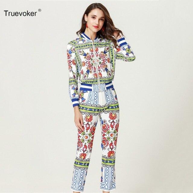 Truevoker Autumn Designer Casual Clothing Set Women s High Quality Long  Sleeve Abstract Geometric Printed Zip Up Hoodies + Pants 9e01955146fe