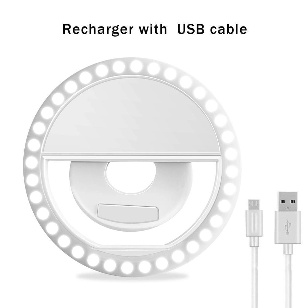 Selfie Lamp Universal Selfie LED Ring Flash Light Portable Mobile Phone 36 LEDS Selfie Lamp Luminous Ring Clip For IPhone 8 7 6