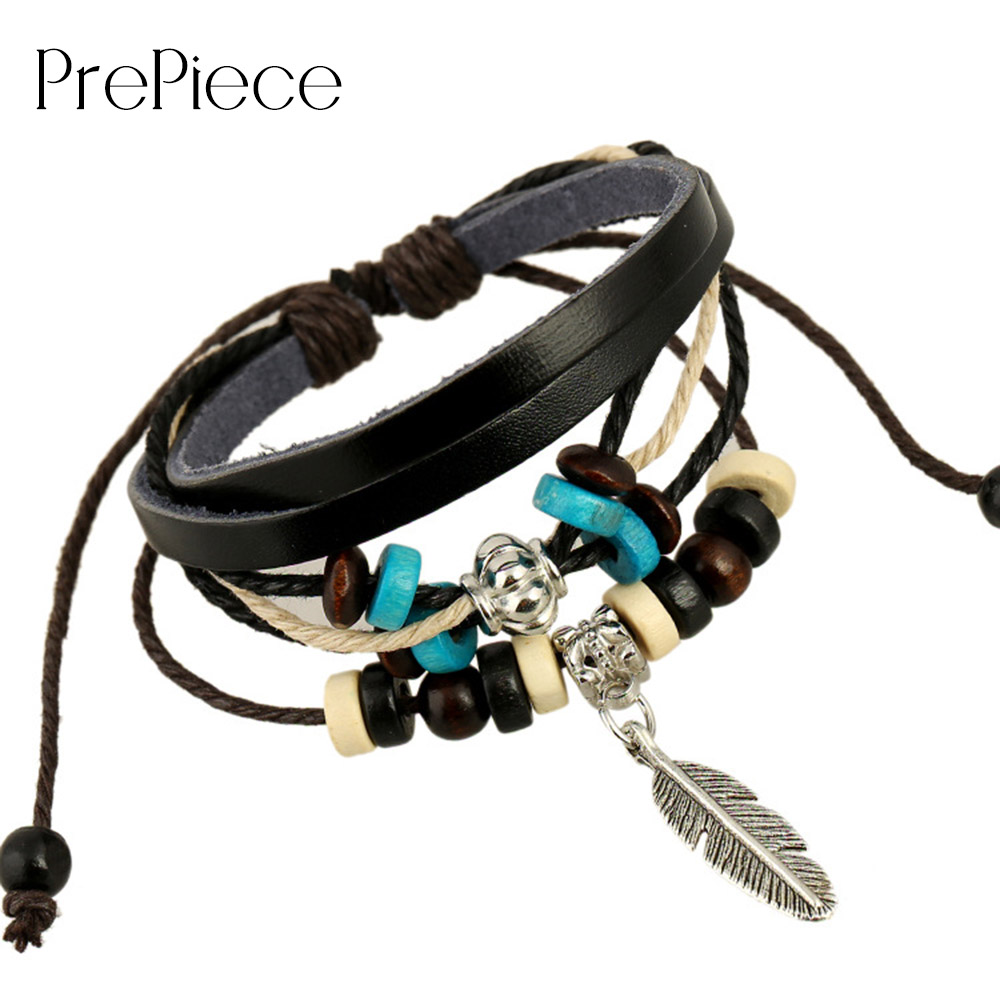 PrePiece Trendy Leather Multi-Layer Feather Pendant Strand Bracelet Fashion Jewelry Accessories for Women Daily 2018 New PB0463