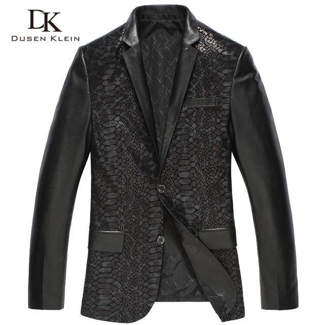 Los Hombres de la marca de Cuero Genuino Diseñador Chaqueta Abrigos Negro/Delgado/de piel de Oveja Abrigo de piel de Serpiente Patrón suit abrigos 15J1398