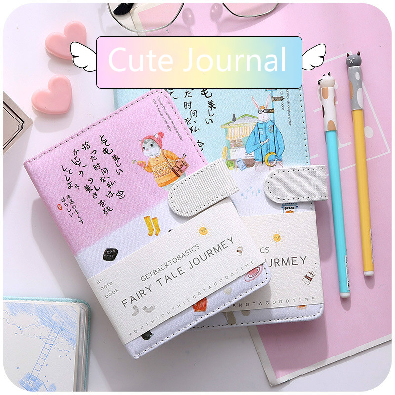 A5/6 Korean Cartoon Animal School Notebook Journal Stationery For Girls Gift Cute Diary Notepad Blank Sketch Book