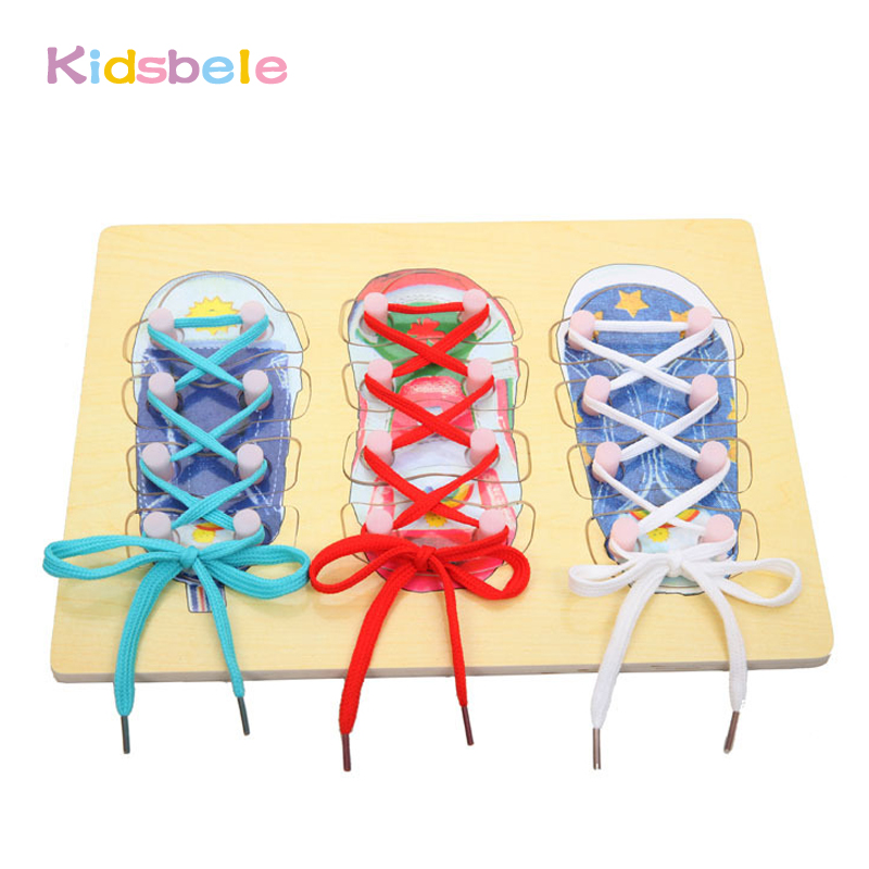 1pcs New Wooden Toy Gift For Children Little Shoes Baby Shoelace Rope Parent-child Educational Toys Random Color M09 Home