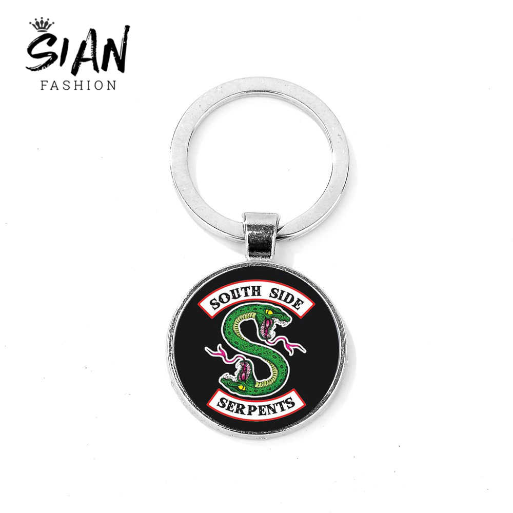 SIAN Brand Riverdale South Side Serpents Keychain Creative Pattern Glass Gem Key Ring Car Key Chain Handicrafts Fashion Llaveros
